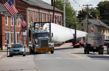 truck carrying turbine parts